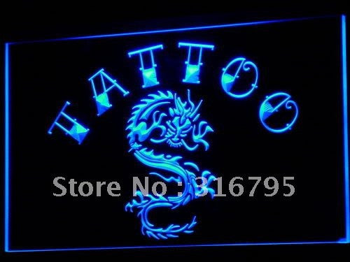 Tattoo Chinese Dragon Ink Open LED Neon Light Sign