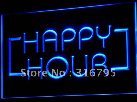 Happy Hour Bar Coffee Open Beer Pub Light Sign