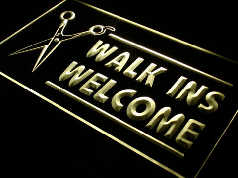 OPEN WALK INS WELCOME Hair Cut LED Neon Light Sign