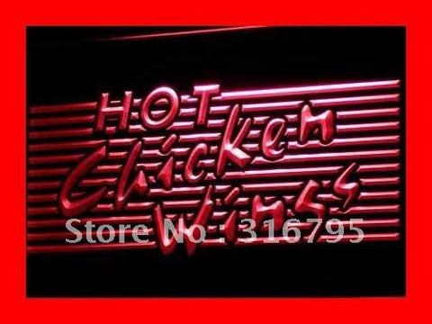 Hot Chicken Wings BBQ Shop Bar LED Neon Light Sign