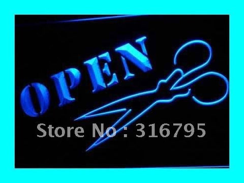 Open Hair Cut Scissors Shears Sign LED Neon Light