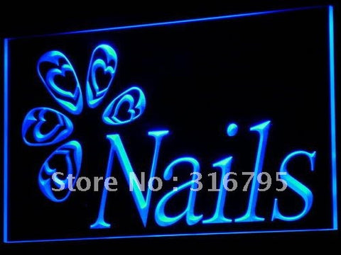 OPEN Nails Beauty Salon Shop LED Neon Light Sign