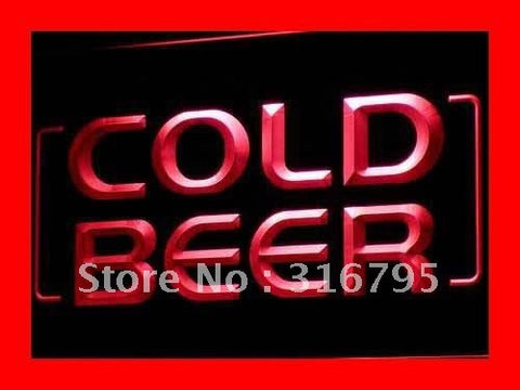 Cold Beer Bar Pub Club OPEN NEW LED Neon Light Sign