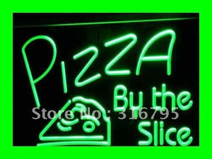 OPEN Pizza By The Slice Cafe Shop NEW Light Sign