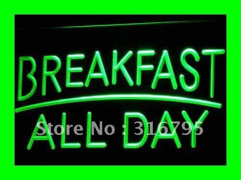BREAKFAST ALL DAY OPEN Cafe Bar LED Neon Light Sign