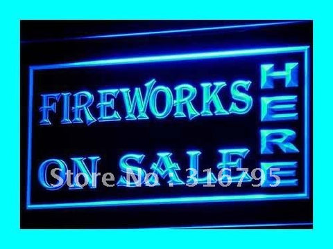 Fireworks On Sale Neon Sign (OPEN Displays Light LED)