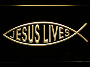 Jesus Lives Christ Fsh Neon Sign (LED Light)