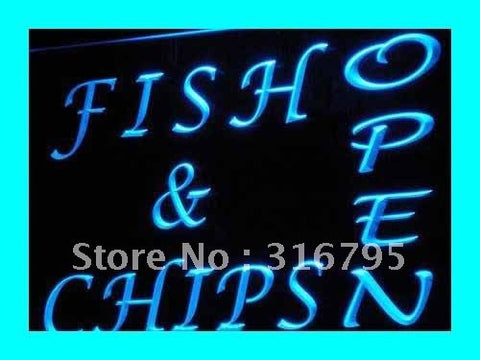 OPEN Fish Chips Neon Sign (Cafe Restaurant LED Light)