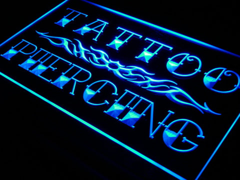 Tattoo Piercing Neon Sign (Miami Ink Shop LED Light)