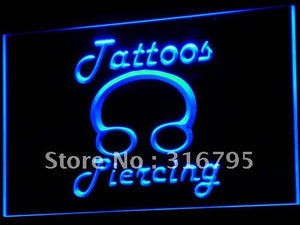 Tattoos Piercing Ring Body Shop Neon Sign (LED Light)