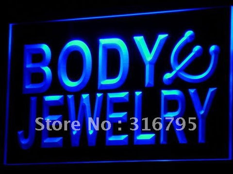Body Jewelry. Piercing Shop Neon Sign (Bar LED Light)