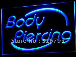 Body Piercing Neon Sign (Tattoo Shop Display Light)