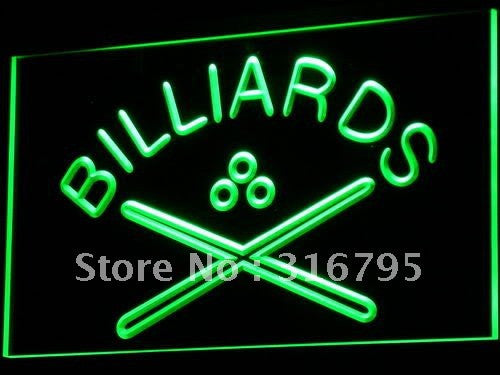Billiards Neon Sign (Light Pool Cue Room Bar Pub LED)