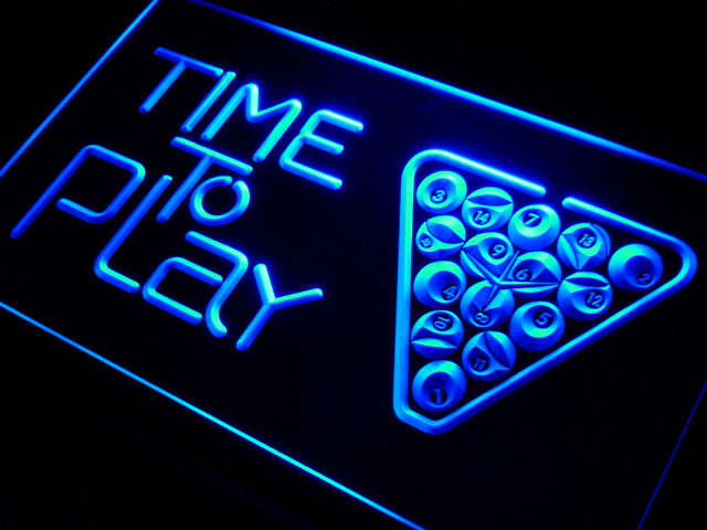 Time to Play Pool Snooker Room Neon Sign (Light LED)