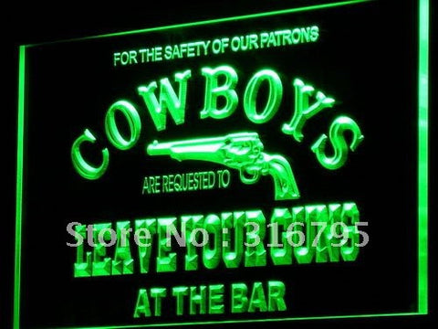 Cowboys Leave Guns Neon Sign (Bar Beer LED Light)