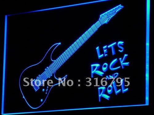 Guitar Let's Rock n Roll Neon Sign (Music LED Light)