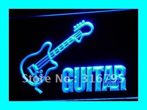 Guitar World Neon Sign (Displays Gifts Pub LED Light)