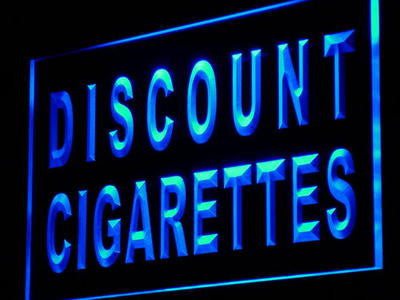 Discount Cigarettes Neon Sign (Shop Cigar Pipe Light)