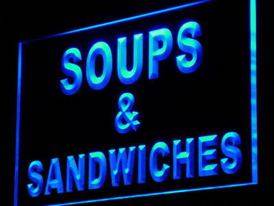 Soups & Sandwiches Neon Sign (Cafe Shop Decor Light LED)