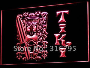Surf Tiki Bar Mask Tree Neon Sign (Decor LED Light)