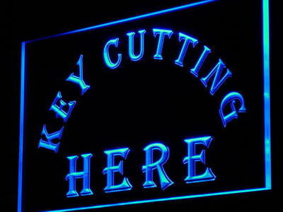 Key Cutting Here Neon Sign (Cut Shop Decor Light LED)