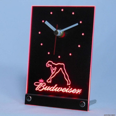 Budweiser Exotic Dancer Stripper Table Desk 3D LED Clock