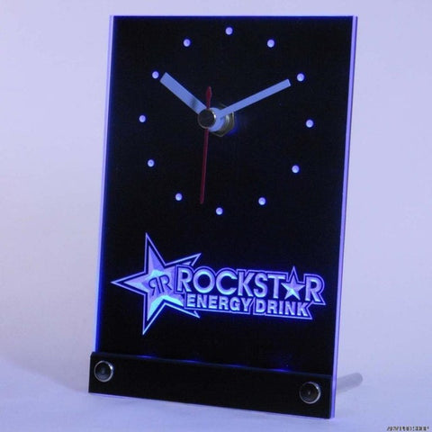 Rockstar Energy Drink Beer Bar Table Desk 3D LED Clock