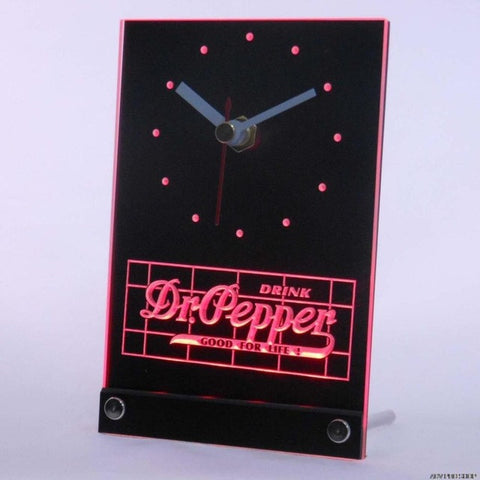 Dr. Pepper Drink Good For Life Table Desk 3D LED Clock