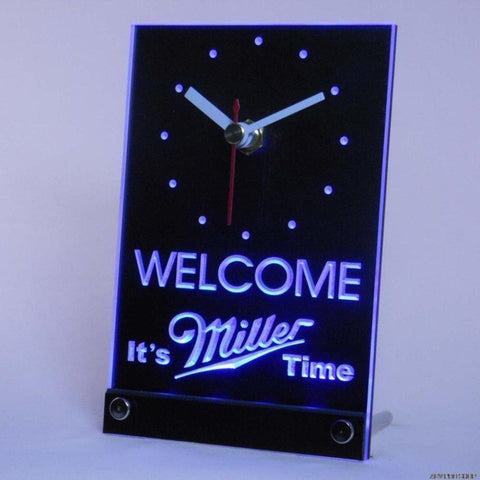 It's Miller Time Welcome Bar Beer Table Desk 3D LED Clock
