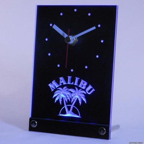 Malibu Rum Bar Beer Pub Table Desk 3D LED Clock