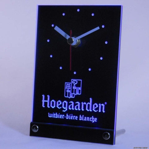 Hoegaarden Belgium Beer Bar Table Desk 3D LED Clock