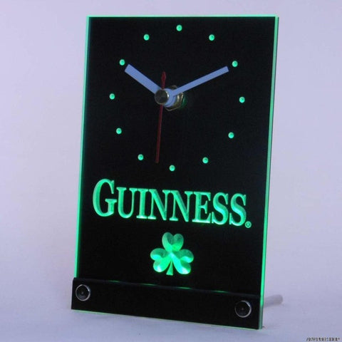 Guinness Beer Shamrock Bar Table Desk 3D LED Clock
