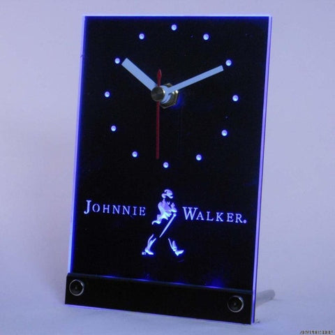 Johnnie Walker Whiskey Wine Bar Table Desk 3D LED Clock