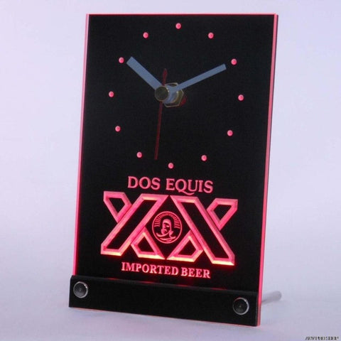 Dos Equis Beer Bar Pub Table Desk 3D LED Clock