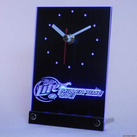 Miller Time Live Lite Guitar Beer Bar Table Desk 3D LED Clock