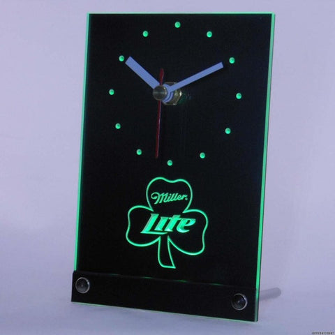 Miller Lite Shamrock Beer Bar Table Desk 3D LED Clock