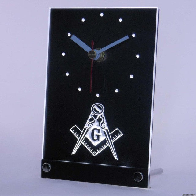Masonic Mason Freemason Emblem Table Desk 3D LED Clock