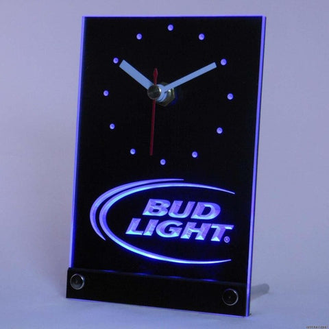 Bud Light Beer Bar 3D LED Table Desk Clock