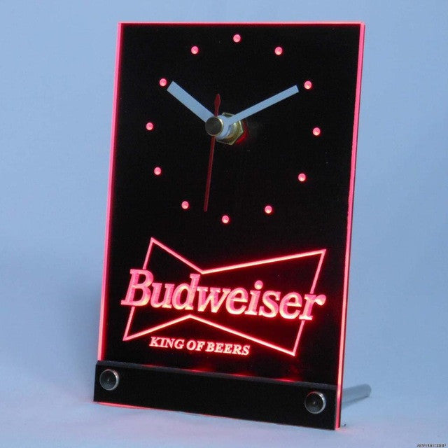 Budweiser Beer Bar 3D LED Table Desk Clock