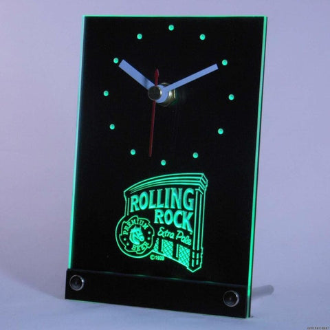 Rolling Rock Beer Bar 3D LED Table Desk Clock