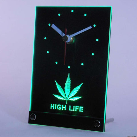 Hemp Leaf High Life 3D LED Table Desk Clock