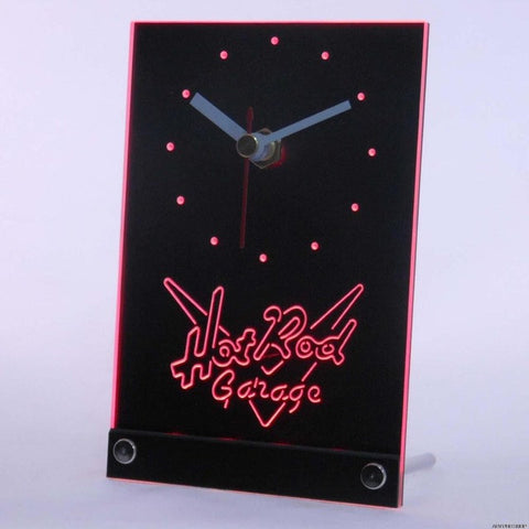 Hot Rod Garage Beer Bar Car 3D LED Table Desk Clock