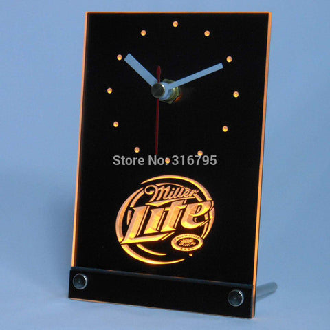 Miller Lite Beer 3D LED Table Desk Clock