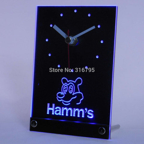 Hamm's Bear Beer 3D LED Table Desk Clock