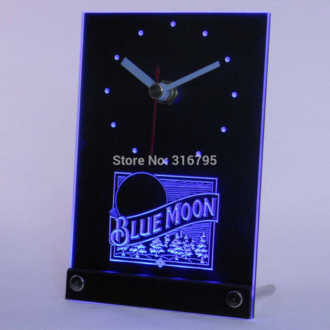 Blue Moon Beer 3D LED Table Desk Clock
