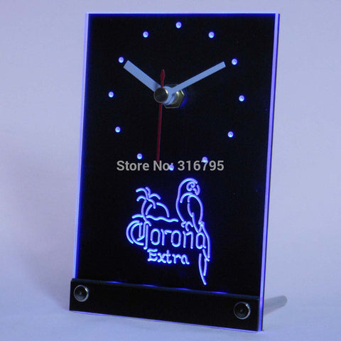 CORONA Extra Parrot Beer 3D LED Table Desk Clock