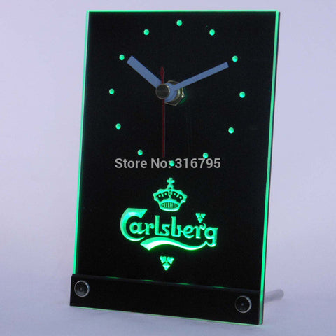 Carlsberg Beer 3D LED Table Desk Clock