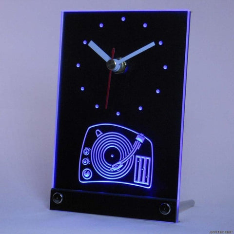 Turntable DJ Music Disco Bar Beer Table Desk 3D LED Clock