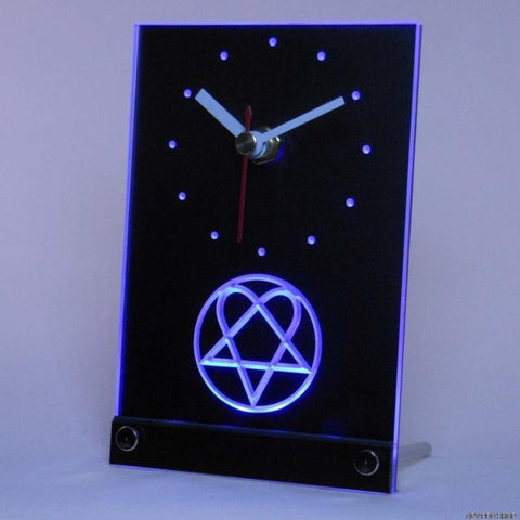 Him Heartagram Logo Band Table Desk 3D LED Clock