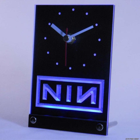 NIN Nine Inch Nail Rock n Roll Bar Beer Table Desk 3D LED Clock